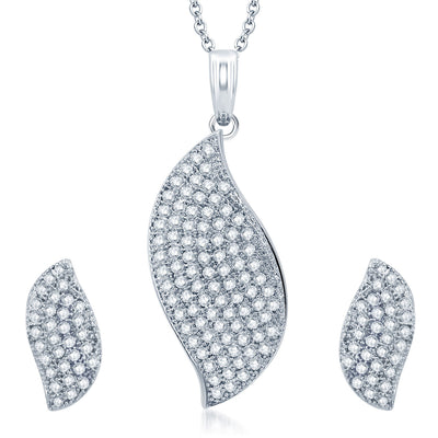 Pissara Shimmering Rhodium Plated CZ Micro Pave Pendant Set