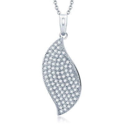 Pissara Shimmering Rhodium Plated CZ Micro Pave Pendant Set-1