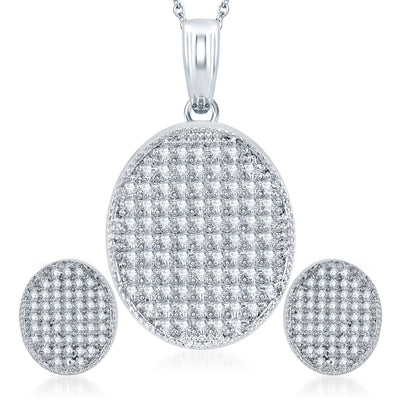Pissara Eye-Catchy Rhodium Plated CZ Micro Pave Pendant Set