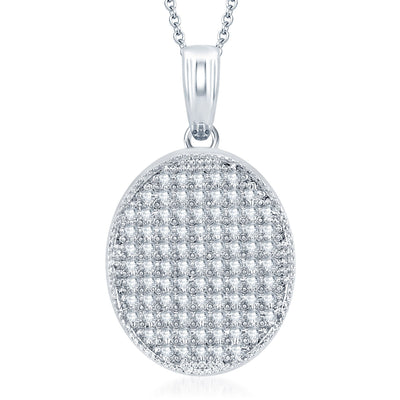 Pissara Eye-Catchy Rhodium Plated CZ Micro Pave Pendant Set-1