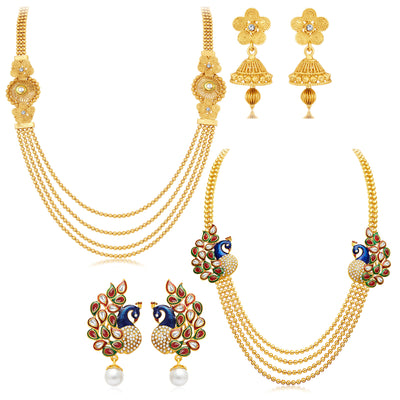 Sukkhi Pretty 4 String Gold Plated Set of 2 Necklace Set Combo For Women-1