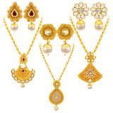 Sukkhi Fancy Jalebi Gold Plated Set of 3 Necklace Set Combo For Women
