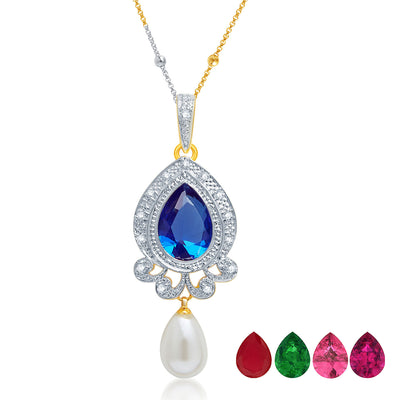 Pissara Glittery Gold and Rhodium Plated CZ Pendant Set with Set of 5 Changeable Stone-1