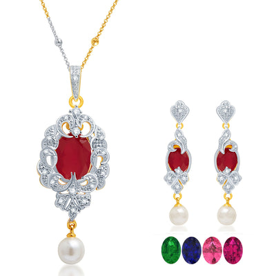 Pissara Fabulous Gold and Rhodium Plated CZ Pendant Set with Set of 5 Changeable Stone