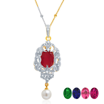 Pissara Fabulous Gold and Rhodium Plated CZ Pendant Set with Set of 5 Changeable Stone-1