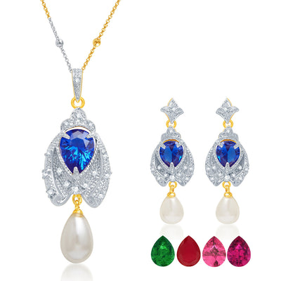 Pissara Classic Gold and Rhodium Plated CZ Pendant Set with Set of 5 Changeable Stone