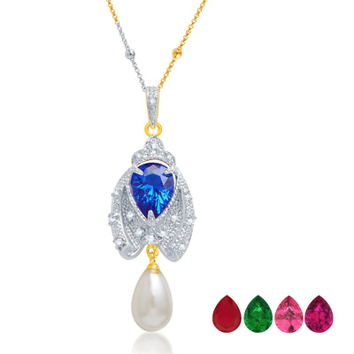 Pissara Classic Gold and Rhodium Plated CZ Pendant Set with Set of 5 Changeable Stone-1