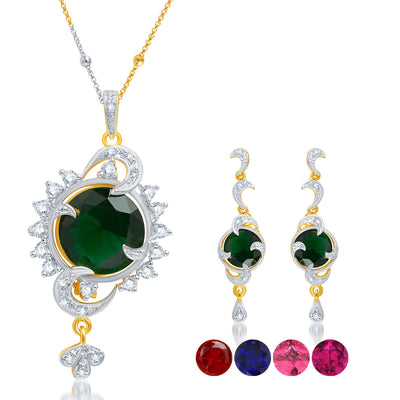 Sukkhi Surveen Chawla Collections Delightly Gold and Rhodium Plated CZ Pendant Set with Set of 5 Changeable Stone