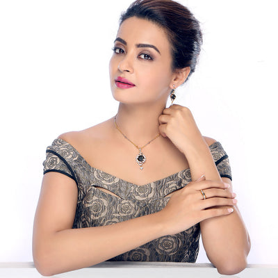 Sukkhi Surveen Chawla Collections Delightly Gold and Rhodium Plated CZ Pendant Set with Set of 5 Changeable Stone-1