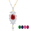 Sukkhi Surveen Chawla Collections Sleek Gold and Rhodium Plated CZ Pendant Set with Set of 5 Changeable Stone