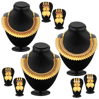 Sukkhi Glistening Laxmi Temple Coin Gold Plated Set of 3 Necklace Set Combo For Women