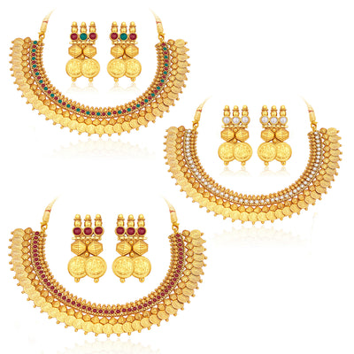 Sukkhi Glistening Laxmi Temple Coin Gold Plated Set of 3 Necklace Set Combo For Women-1
