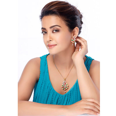 Sukkhi Surveen Chawla Collections Luxurious Gold and Rhodium Plated CZ Pendant Set-2