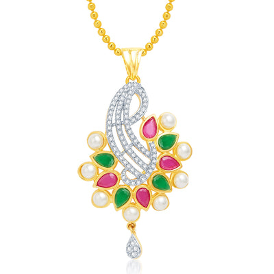 Sukkhi Surveen Chawla Collections Luxurious Gold and Rhodium Plated CZ Pendant Set