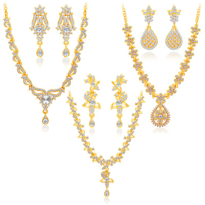 Sukkhi Alluring Gold Plated AD Set of 3 Necklace Set Combo For Women-1