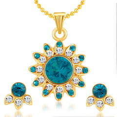 Sukkhi Artistically Gold Plated AD Pendant Set