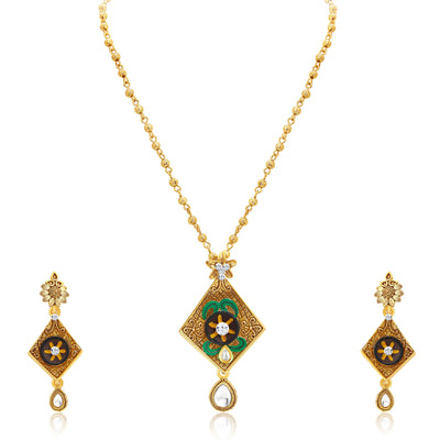 Sukkhi Artistically Gold Plated Pendant Set For Women-1