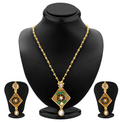 Sukkhi Artistically Gold Plated Pendant Set For Women