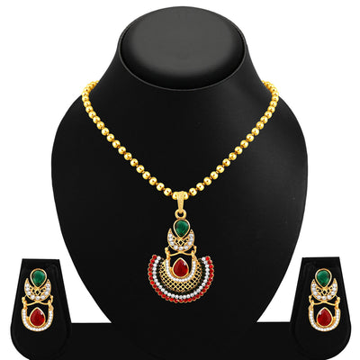 Sukkhi Blossomy Gold Plated Pendant Set For Women-1