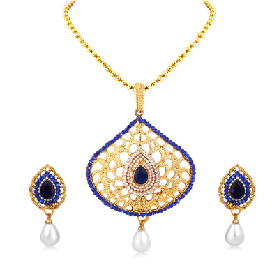 Sukkhi Wavy Gold Plated Pendant Set For Women