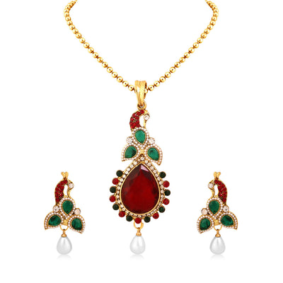 Sukkhi Gorgeous Peacock Gold Plated Pendant Set For Women