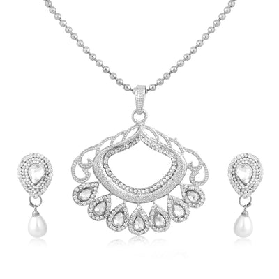 Sukkhi Dazzling Rhodium Plated AD Pendant Set For Women
