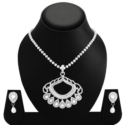 Sukkhi Dazzling Rhodium Plated AD Pendant Set For Women-1