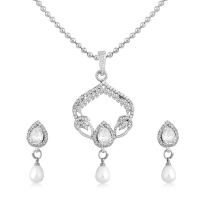 Sukkhi Marvellous Rhodium Plated AD Pendant Set For Women