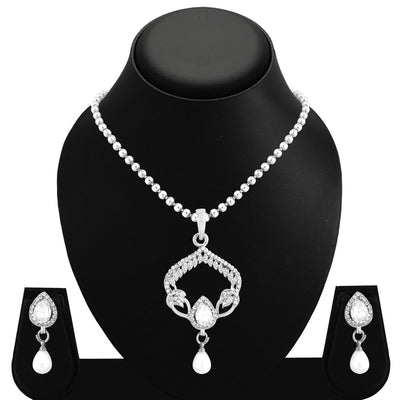 Sukkhi Marvellous Rhodium Plated AD Pendant Set For Women-1