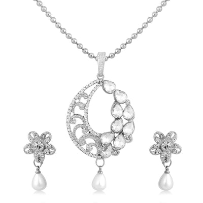 Sukkhi Ethnic Rhodium Plated AD Pendant Set For Women