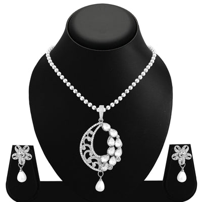 Sukkhi Ethnic Rhodium Plated AD Pendant Set For Women-1