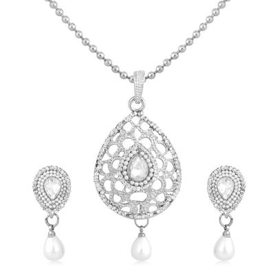 Sukkhi Incredible Rhodium Plated AD Pendant Set For Women
