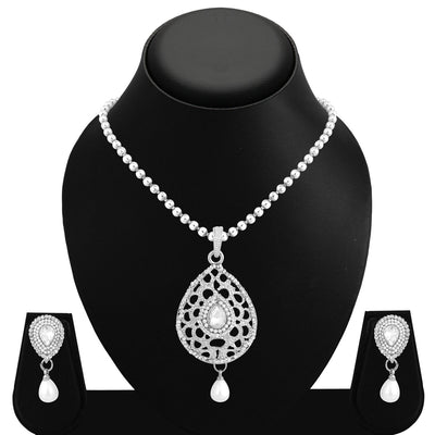 Sukkhi Incredible Rhodium Plated AD Pendant Set For Women-1
