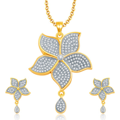 Pissara Luminous Gold And Rhodium Plated CZ Pendant Set For Women