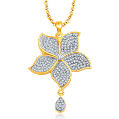 Pissara Luminous Gold And Rhodium Plated CZ Pendant Set For Women-1