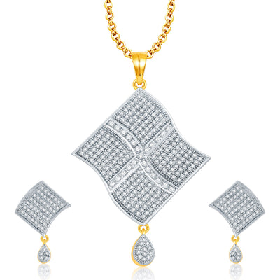 Pissara Cheerful Gold And Rhodium Plated CZ Pendant Set For Women