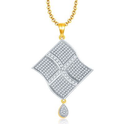 Pissara Cheerful Gold And Rhodium Plated CZ Pendant Set For Women-1