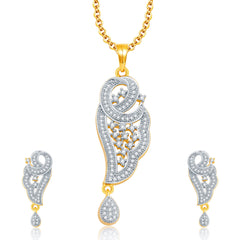 Pissara Sarene Gold And Rhodium Plated CZ Pendant Set For Women