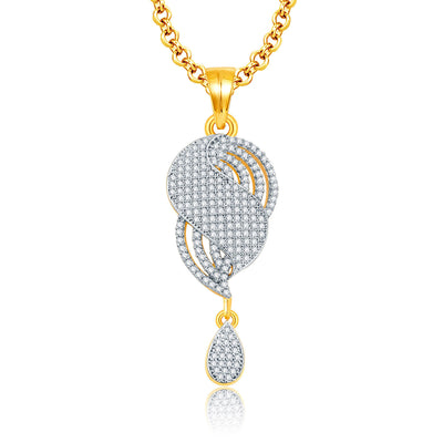 Pissara Jovial Gold And Rhodium Plated CZ Pendant Set For Women-1