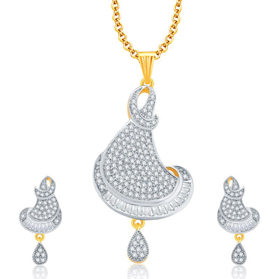 Pissara Glitzy Gold And Rhodium Plated CZ Pendant Set For Women
