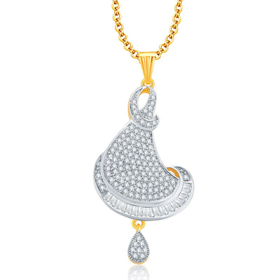 Pissara Glitzy Gold And Rhodium Plated CZ Pendant Set For Women-1