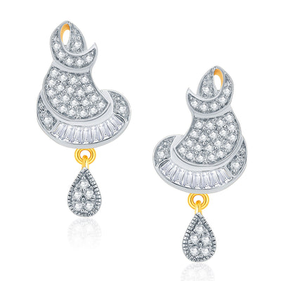 Pissara Glitzy Gold And Rhodium Plated CZ Pendant Set For Women-2
