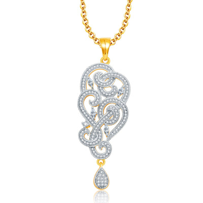 Pissara Majestic Gold And Rhodium Plated CZ Pendant Set For Women-1