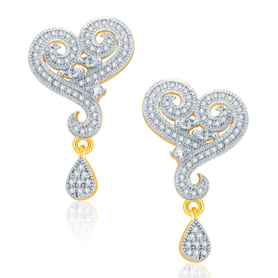 Pissara Majestic Gold And Rhodium Plated CZ Pendant Set For Women-2