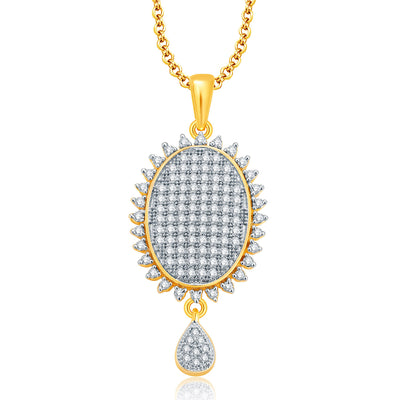 Pissara Winsome Gold And Rhodium Plated CZ Pendant Set For Women-1