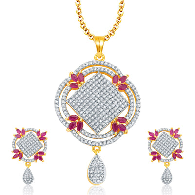 Pissara Lovely Gold And Rhodium Plated Ruby CZ Pendant Set For Women