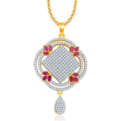 Pissara Lovely Gold And Rhodium Plated Ruby CZ Pendant Set For Women-1