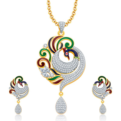 Pissara Elegant Peacock Gold And Rhodium Plated CZ Pendant Set For Women