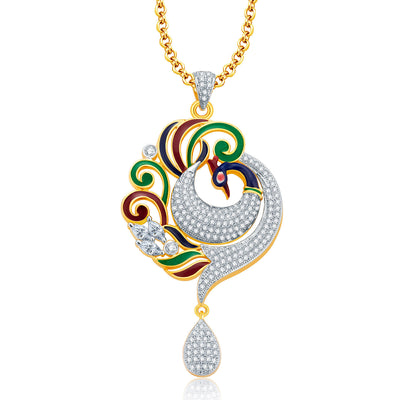 Pissara Elegant Peacock Gold And Rhodium Plated CZ Pendant Set For Women-1