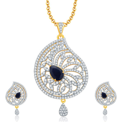 Pissara Attractive Gold And Rhodium Plated CZ Pendant Set For Women